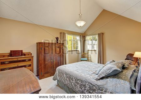 Bedroom Interior With Old Sharpen Furniture, Carpet Floor
