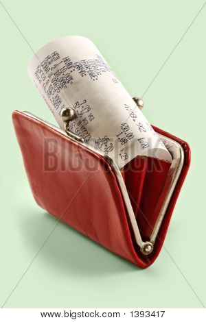 Cash Receipt On Background Of A Purse