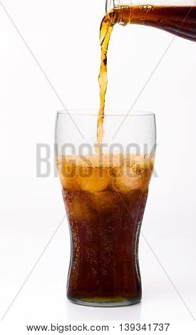 Bottle Pouring Coke In Drink Glass With Ice Cubes