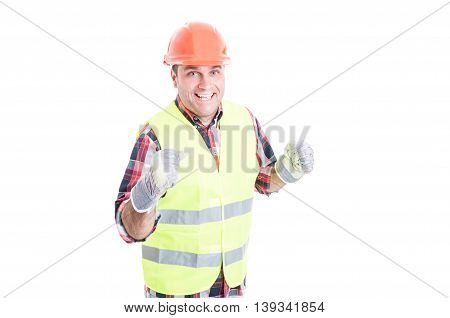 Cheerful Engineer In Safety Clothes Enjoying Success