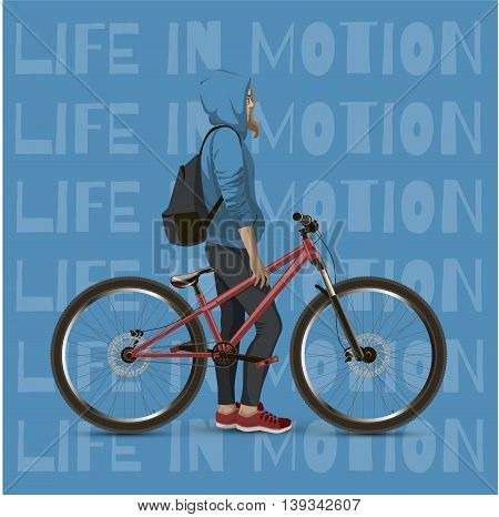 The girl on the mtb bike. With text on a blue background.