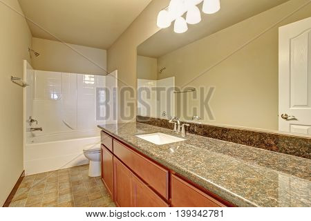 Bathroom Interior With Vanity Cabinet, Granite Counter Top