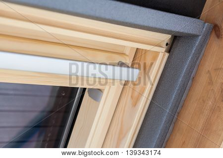Closeup of thermal insulation layer in roof window