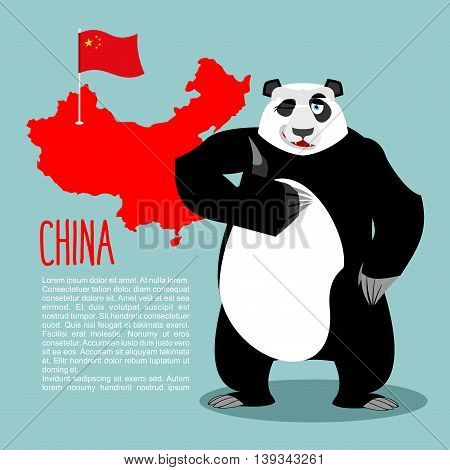 Panda And Map And Flag Of China. Chinese Medvde Showing Thumbs Up And Winking. Good Animal Sign Okay