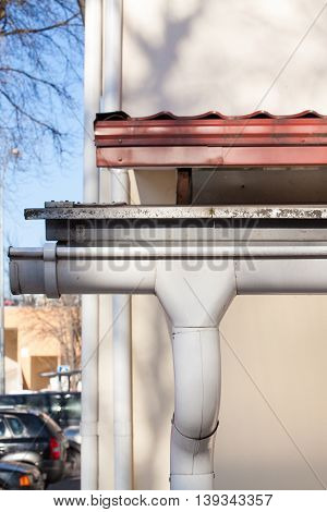 Closeup of Rain gutter system on a roof