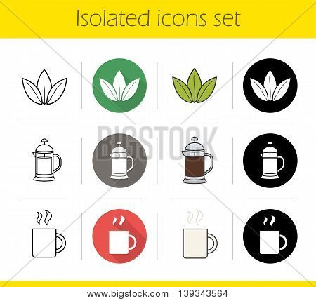 Tea icons set. Flat design, linear, black and color styles. Loose tea leaves, french press, hot steamy mug. Isolated vector illustrations