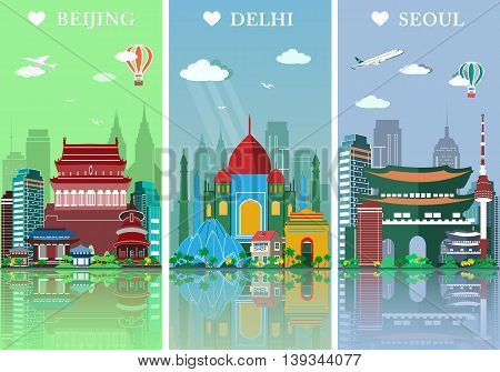 Cities skylines set. Flat landscapes vector illustration. Beijing, Delhi and Seoul silhouettes design with landmarks.