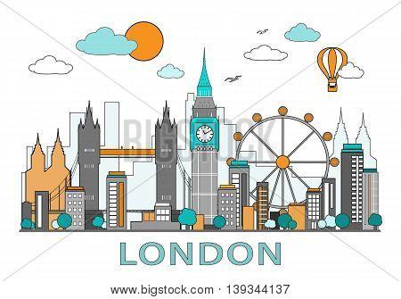 Thin line flat design of London city with landmarks. Modern detailed skyline. Vector illustration, isolated on white background.