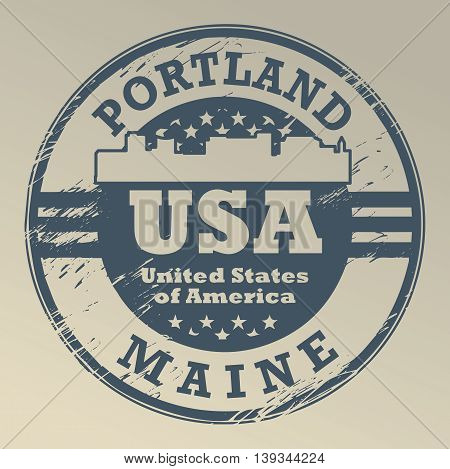 Grunge rubber stamp with name of Maine, Portland, vector illustration