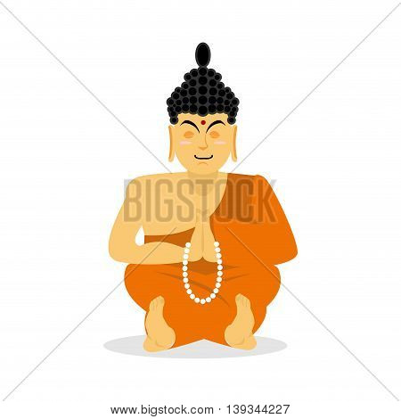 Buddha Meditating Isolated. Indian God On White Background. Status Of Nirvana And Enlightenment. Lot