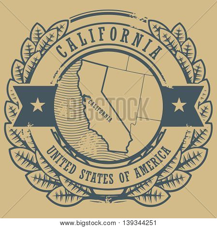 Grunge rubber stamp with name and map of California, USA, vector illustration