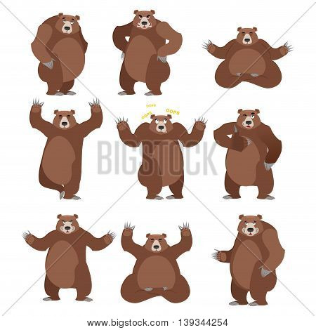 Bear Set On White Background. Grizzly Various Poses. Expression Of Emotions. Wild Animal Yoga. Eevil