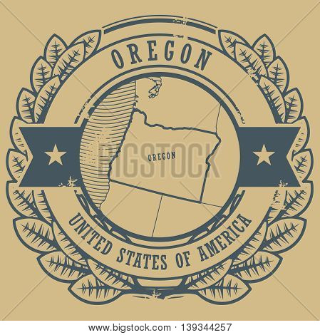 Grunge rubber stamp with name and map of Oregon, USA, vector illustration