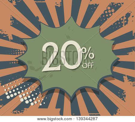 Comic explosion with text 20 percent off, vector illustration