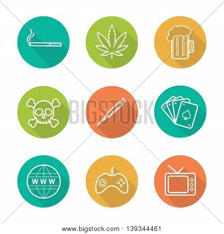 Addictions flat linear long shadow icons set. Smoking, alcohol and drugs. Games, internet, tv and gambling signs. Cigarette, marijuana leaf, beer and skull. Bad habits vector line symbols