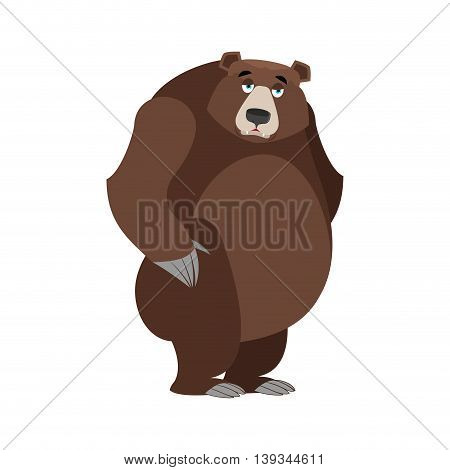 Sad Bear. Mournful Grizzly. Tragic Wild Animal. Large Forest Bored Beast
