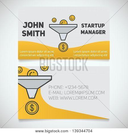 Business card print template. Startup manager. Sales funnel logo. Stationery design concept. Vector illustration