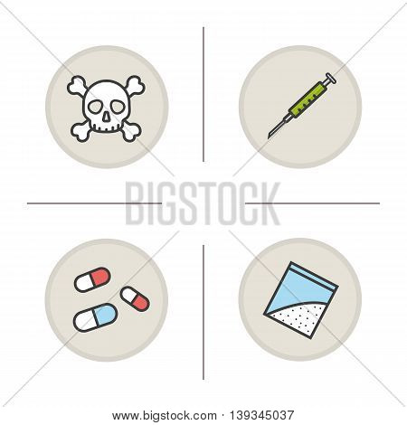 Addictions color icons set. Bad habits. Crossbones with skull, syringe, pills and drugs packet. Death symbol. Vector isolated illustrations