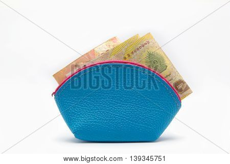 A Money in small bag blue color