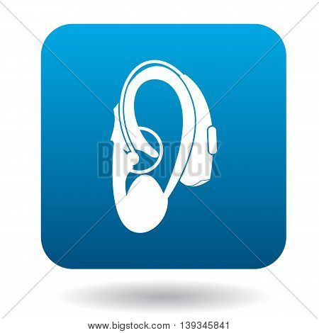 Hearing aid on an ear icon icon in simple style on a white background