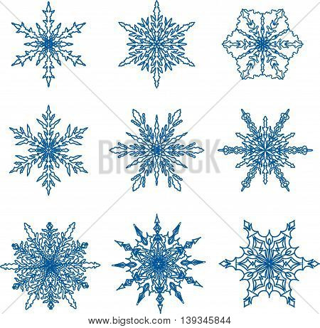 Snowflake doodle graphic hand-drawn set. Blue snowflakes on white background.