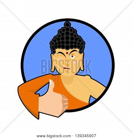 Buddha Shows Well. Thumbs Up And Winks. Indian God. Sign All Right. Hand Showing Ok. Gesture Of Hand