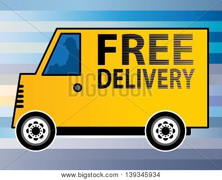 Abstract Free Delivery yellow truck, vector illustration