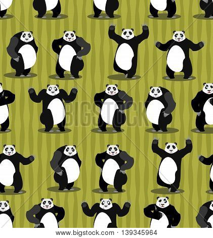 Panda Seamless Pattern. Chinese Bear Ornament. Set Wild Animal. Forest Animals And Bamboo Background