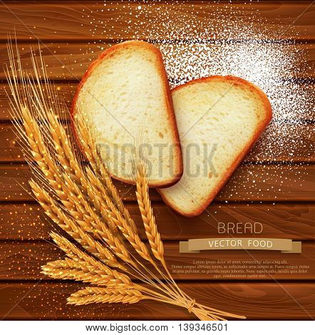 vector background with slices of sliced bread (loaf) lying on the wooden background of scattered with flour and wheat ears