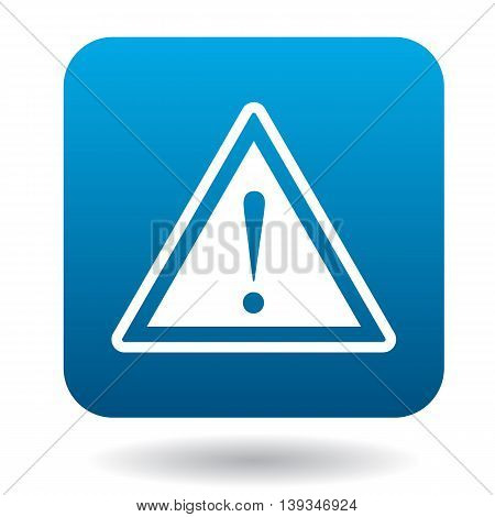 Warning sign icon in simple style on a white background
