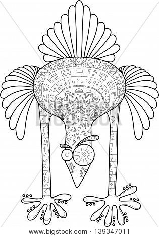 Crazy ostrich with doodle pattern cartoon vector illustration. Contour black and white image for antistress coloring book.