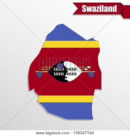 Swaziland map with flag inside and ribbon