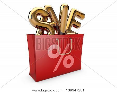 Golden shopping bag with word sale inside. 3D illustration.