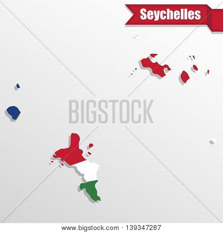 Seychelles map with flag inside and ribbon
