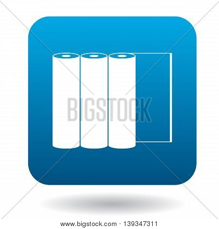 Paper rolls icon in simple style on a white background