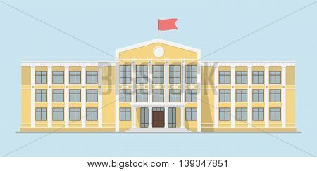 The school building in yellow color. Element for creation of urban background and city landscapes. Isolated urban building for the banner or infographics. School icon. Flat style vector illustration.