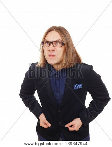 Long haired angry man isolated at white. Portrait of stylish sly guy anxious grimaced and displeased of something. Trendy middle-aged person in glasses and blue suit.