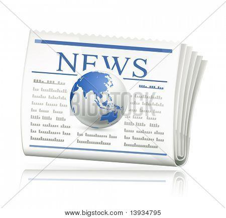 Notícias do mundo, ícone de vetor