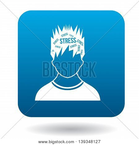 Word stress in the head of man icon in simple style on a white background