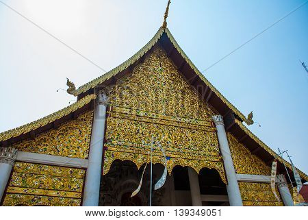 Thailand Temple. A Fragment Of Decor Of A Buddhist Temple. Chiangmai.