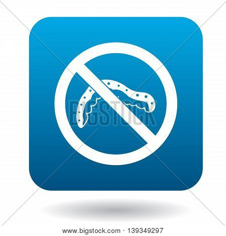 No caterpillar sign icon in simple style on a white background