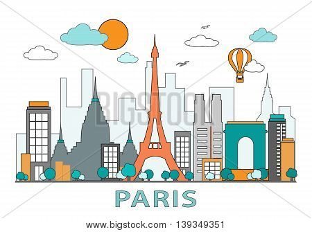 Thin line flat design of Paris city. Modern skyline with landmarks. Colorful vector illustration, isolated on white background. Simple style.