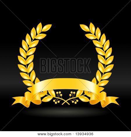 Gold wreath on black