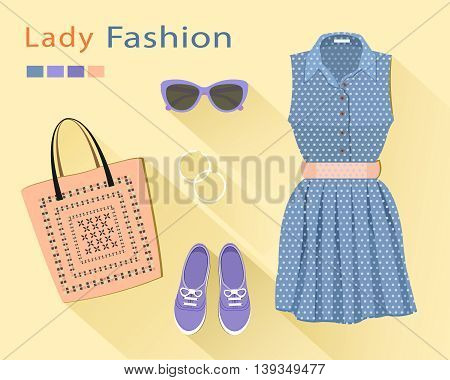 Flat design concept of fashion look: stylish dress, bag, shoes, sunglasses, earrings. Woman clothing set. Trendy clothes objects