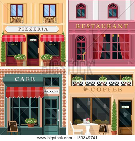 Set of vector detailed flat design restaurants and cafes facade icons. Cool graphic exterior for restaurant business.