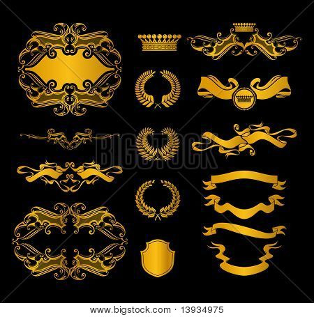 Set of heraldic elements, on black