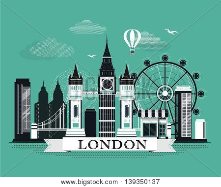 Cool graphic London city skyline poster with retro looking detailed design elements. Flat style landscape with landmarks.