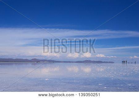Salar Uyuni wet with the sky reflected