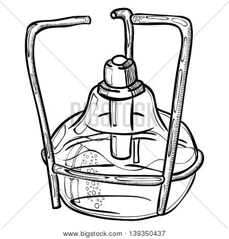 Doodle style laboratory burner illustration in vector format. Doodle lab equipment.