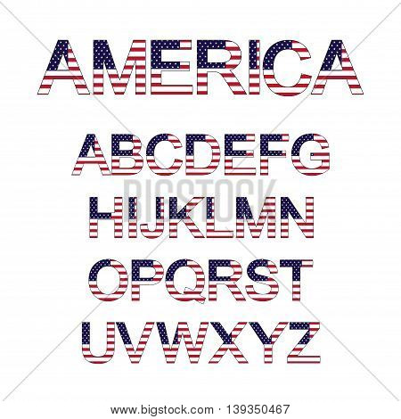 Font set with backgrounds of american flag. Vector illustration.
